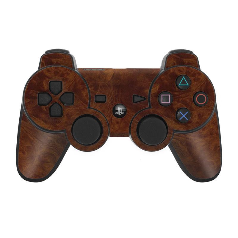 Dark Burlwood PS3 Controller Skin