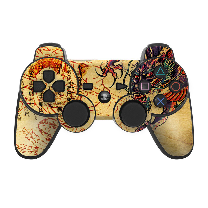 PS3 Controller Skin design of Illustration, Fictional character, Art, Demon, Drawing, Visual arts, Dragon, Supernatural creature, Mythical creature, Mythology with black, green, red, gray, pink, orange colors