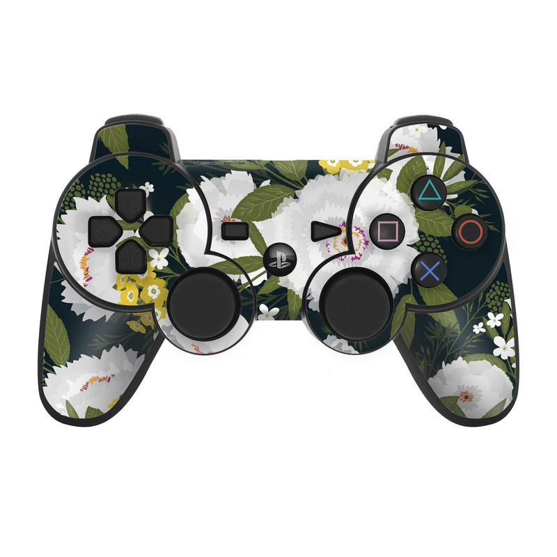 PS3 Controller Skin design of Flower, Flowering plant, Plant, Petal, Daisy, mayweed, Wildflower, Floral design, Annual plant with green, yellow, white, orange colors