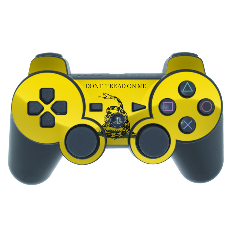 PS3 Controller Skin design of Yellow, Font, Logo, Graphics, Illustration with orange, black, green colors