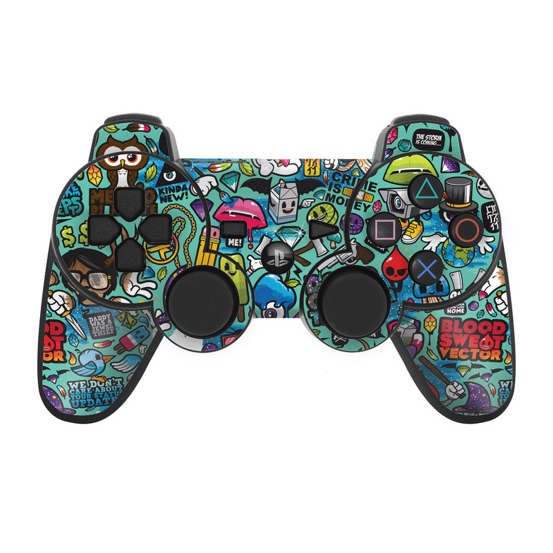PS3 Controller Skin design of Cartoon, Art, Pattern, Design, Illustration, Visual arts, Doodle, Psychedelic art with black, blue, gray, red, green colors