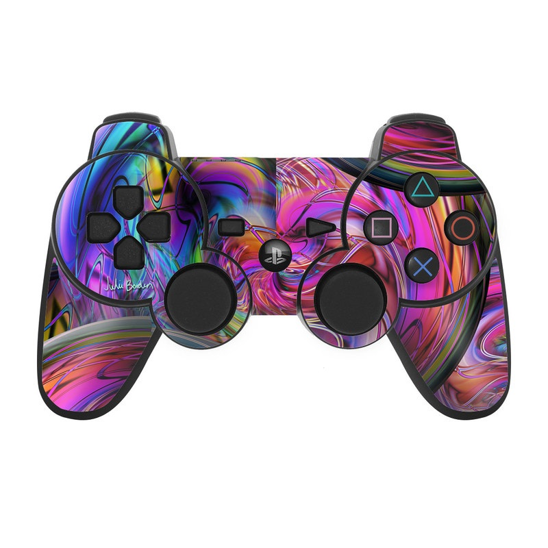 PS3 Controller Skin design of Pattern, Psychedelic art, Purple, Art, Fractal art, Design, Graphic design, Colorfulness, Textile, Visual arts with purple, black, red, gray, blue, green colors