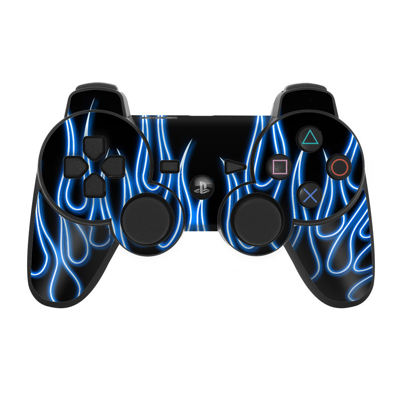 Blue Neon Flames PS3 Controller Skin