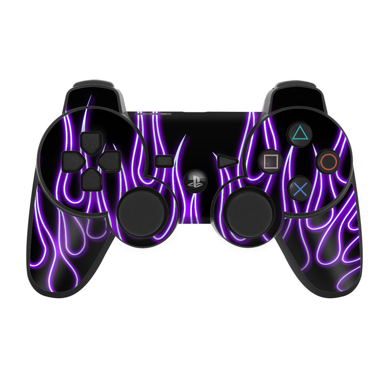 Purple Neon Flames PS3 Controller Skin