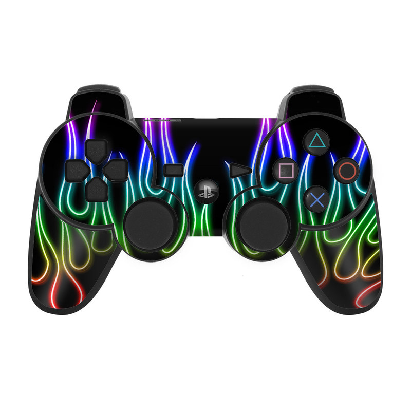 PS3 Controller Skin design of Text, Light, Neon, Font, Neon sign, Graphics, Graphic design, Visual effect lighting with black, red, yellow, green, purple, pink colors