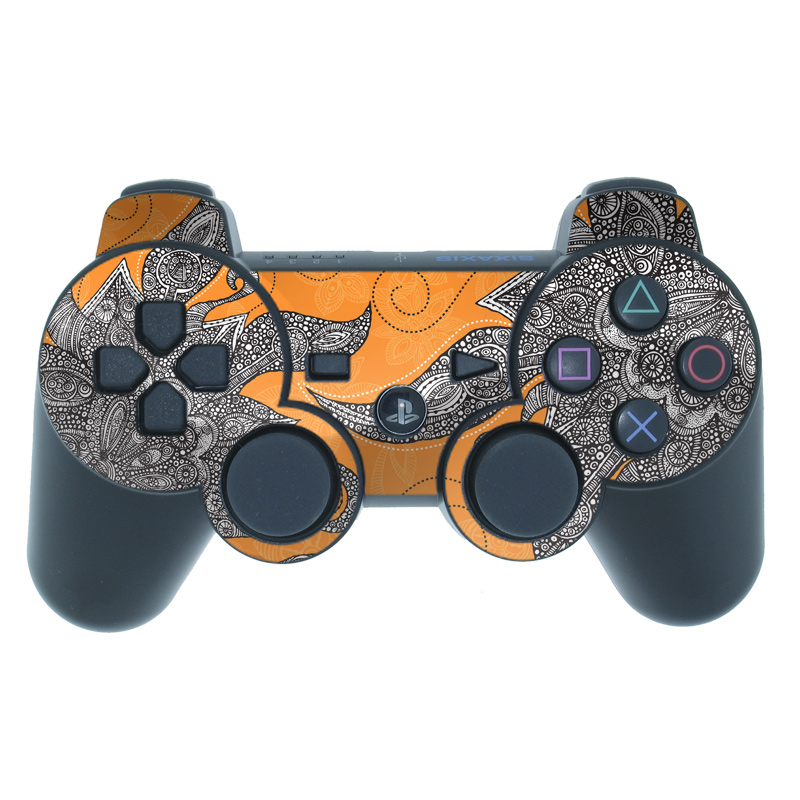 Orange Flowers PS3 Controller Skin