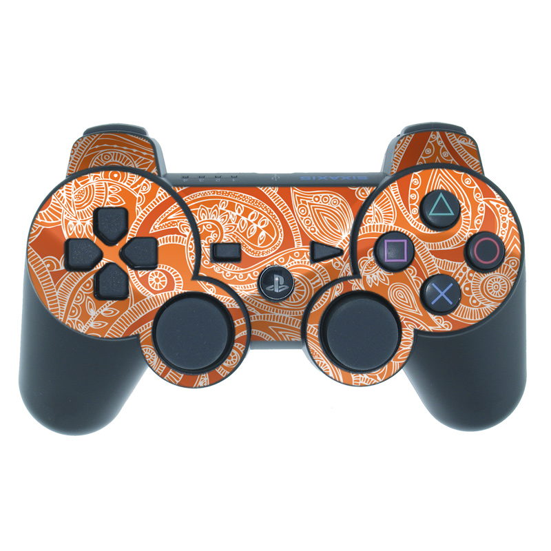 Paisley In Orange PS3 Controller Skin
