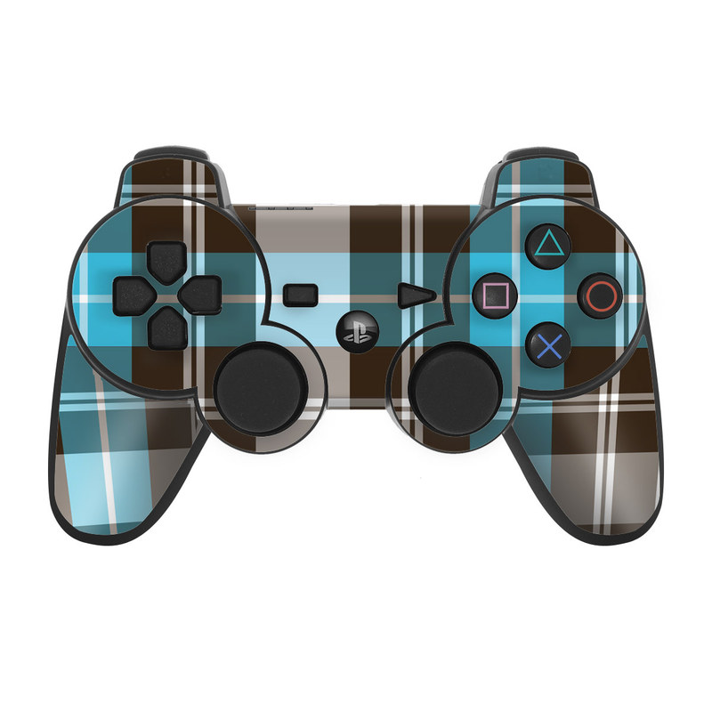 Turquoise Plaid PS3 Controller Skin