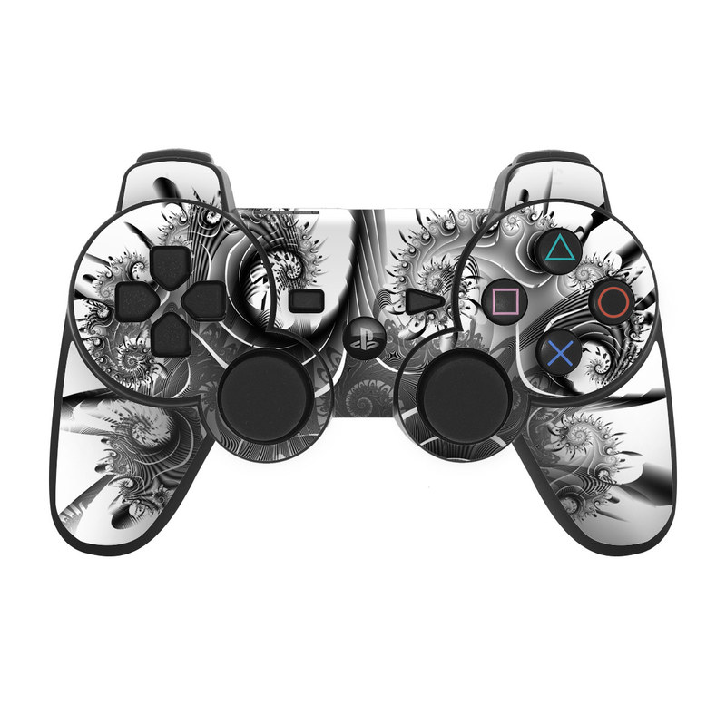 PS3 Controller Skin design of Black-and-white, Illustration, Art, Monochrome, Graphic design, Visual arts, Plant, Monochrome photography, Fractal art, Drawing with white, black, gray colors