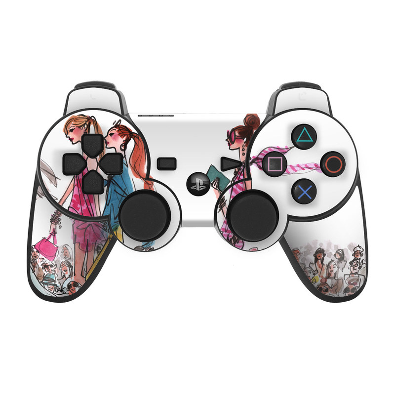 PS3 Controller Skin design of Costume design, Illustration, Fashion design, Fashion illustration, Art, Style with white, gray, red, black, green, pink colors
