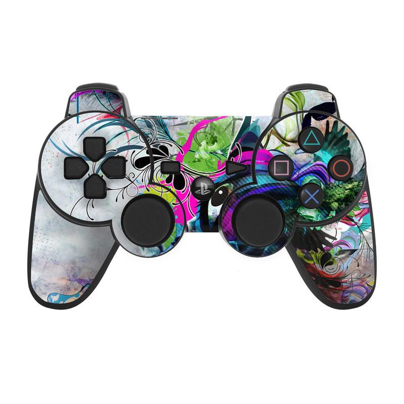 PS3 Controller Skin design of Graphic design, Psychedelic art, Art, Illustration, Purple, Visual arts, Graffiti, Street art, Design, Painting with gray, black, blue, green, purple colors