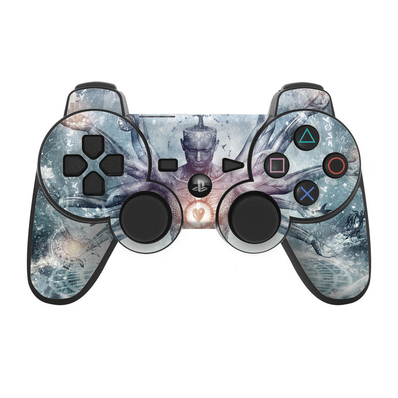 PS3 Controller Skin design of Mythology, Cg artwork, Water, Illustration, Fictional character, Space, Graphics, Art, Graphic design with blue, red, orange, black, white colors
