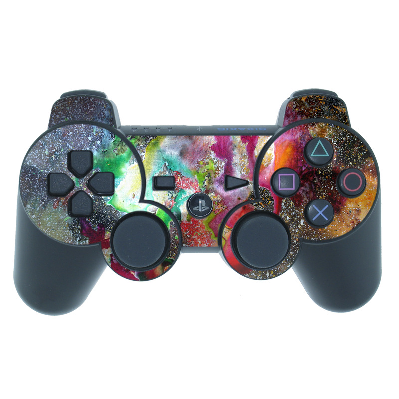 PS3 Controller Skin design of Organism, Space, Art, Nebula, Rock with black, gray, red, green, blue, purple colors