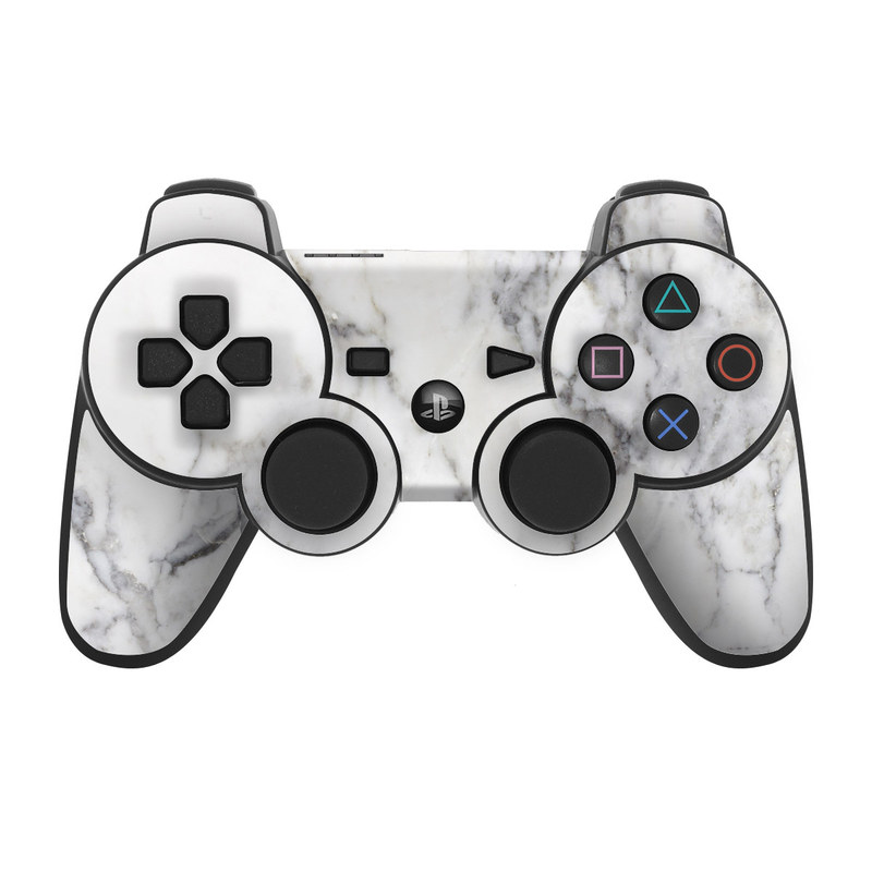 PS3 Controller Skin design of White, Geological phenomenon, Marble, Black-and-white, Freezing with white, black, gray colors