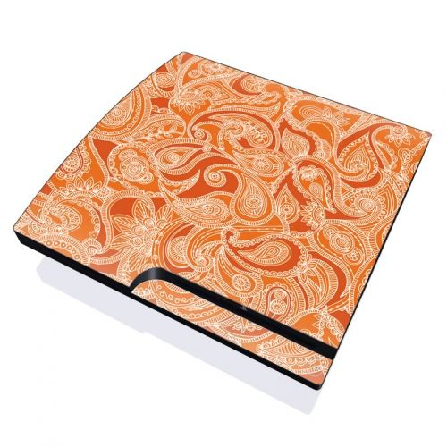 Paisley In Orange PlayStation 3 Slim Skin
