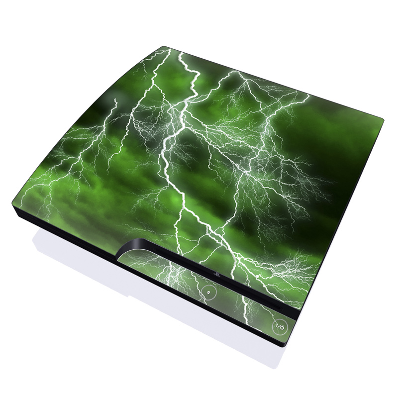 PlayStation 3 Slim Skin design of Thunderstorm, Thunder, Lightning, Nature, Green, Water, Sky, Atmosphere, Atmospheric phenomenon, Daytime with green, black, white colors