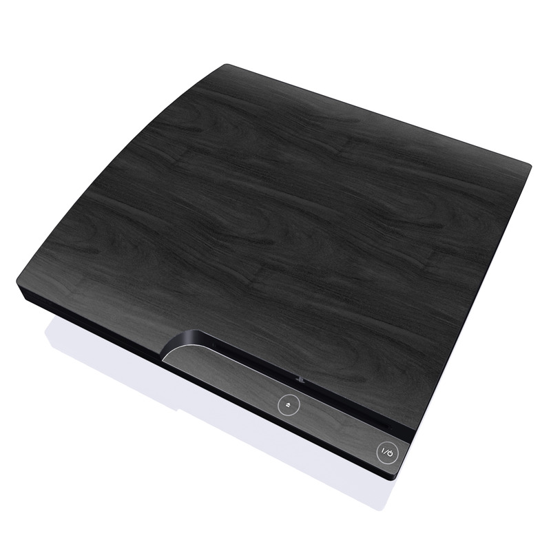 PlayStation 3 Slim Skin design of Black, Brown, Wood, Grey, Flooring, Floor, Laminate flooring, Wood flooring with black colors