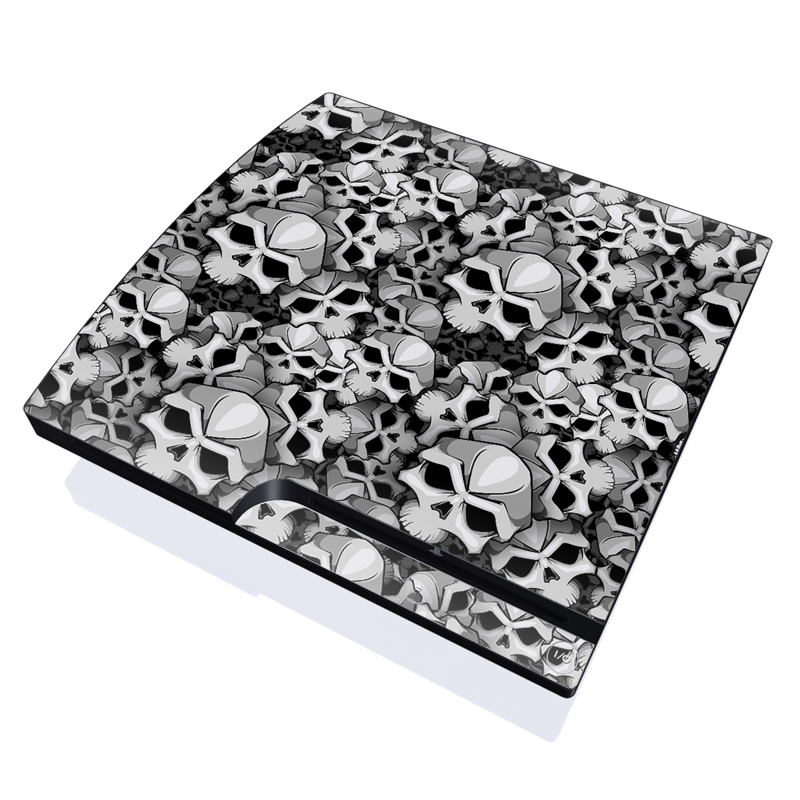 PlayStation 3 Slim Skin design of Pattern, Black-and-white, Monochrome, Ball, Football, Monochrome photography, Design, Font, Stock photography, Photography with gray, black colors