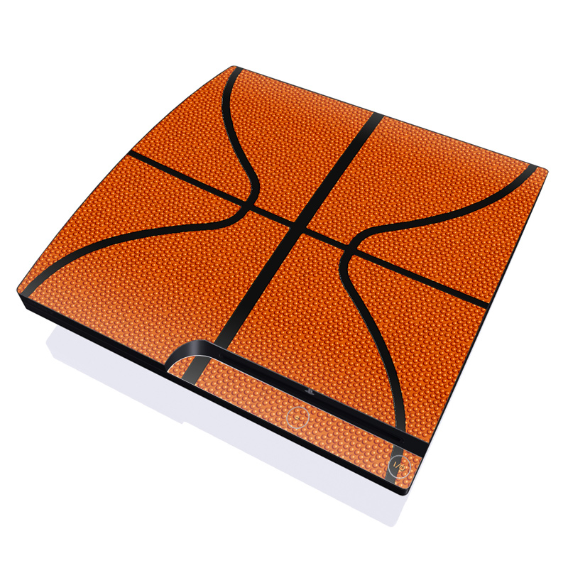 PlayStation 3 Slim Skin design of Orange, Basketball, Line, Pattern, Sport venue, Brown, Yellow, Design, Net, Team sport with orange, black colors