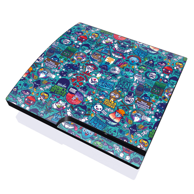 PlayStation 3 Slim Skin design of Art, Visual arts, Illustration, Graphic design, Psychedelic art with blue, black, gray, red, green colors