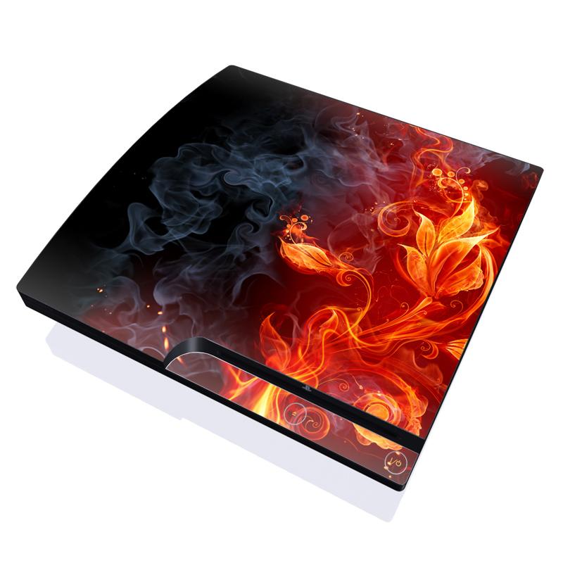PlayStation 3 Slim Skin design of Flame, Fire, Heat, Red, Orange, Fractal art, Graphic design, Geological phenomenon, Design, Organism with black, red, orange colors