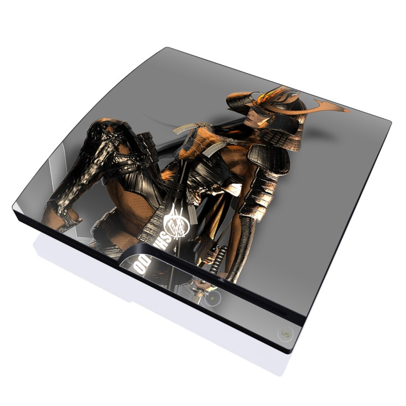 PlayStation 3 Slim Skin design of Cg artwork, Fictional character, Action figure with black, yellow, gray, white colors