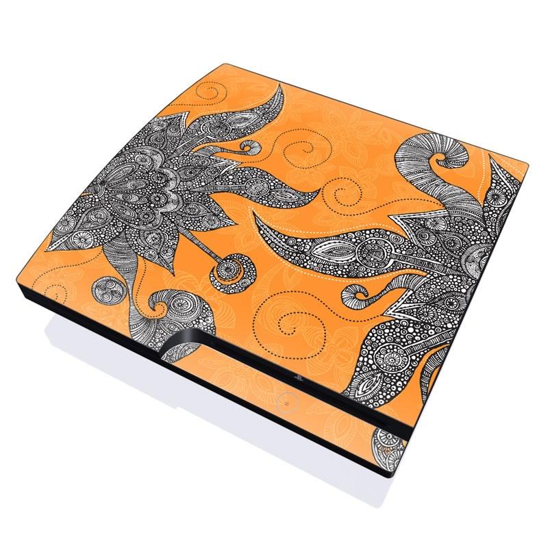 Orange Flowers PlayStation 3 Slim Skin