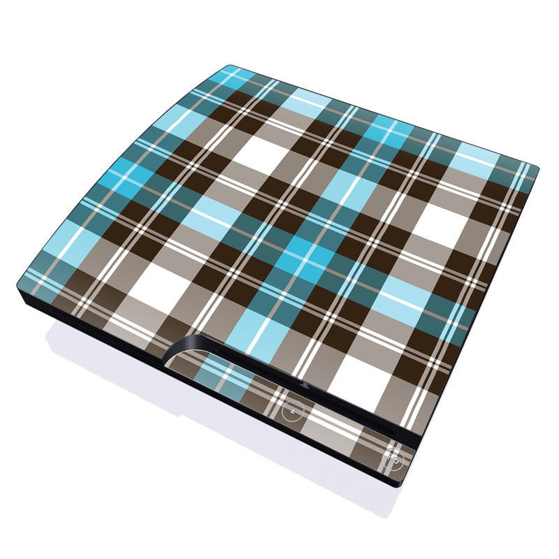 Turquoise Plaid PlayStation 3 Slim Skin