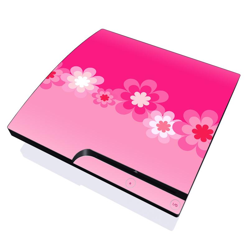 Retro Pink Flowers PlayStation 3 Slim Skin