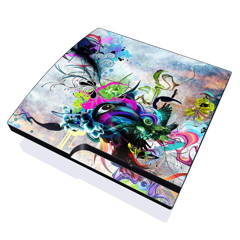 PlayStation 3 Slim Skin design of Graphic design, Psychedelic art, Art, Illustration, Purple, Visual arts, Graffiti, Street art, Design, Painting with gray, black, blue, green, purple colors