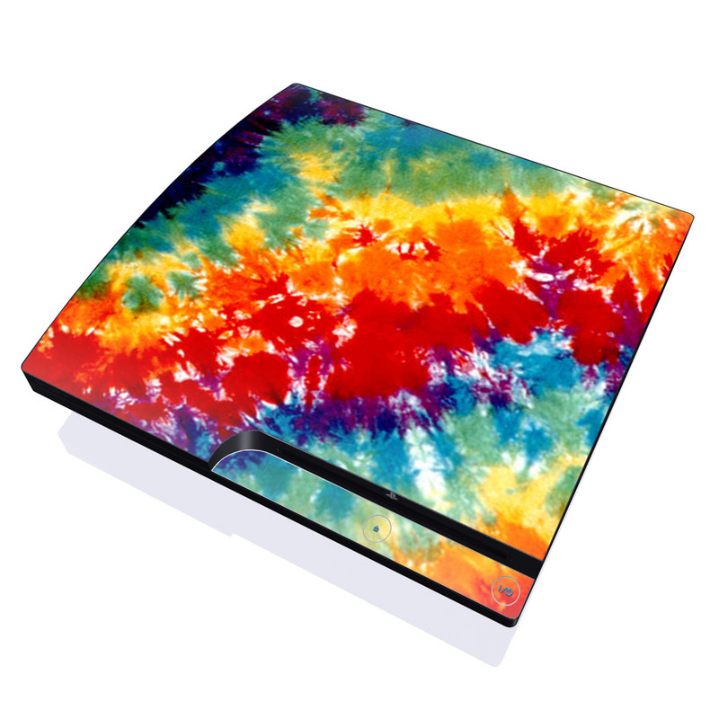 PlayStation 3 Slim Skin design of Orange, Watercolor paint, Sky, Dye, Acrylic paint, Colorfulness, Geological phenomenon, Art, Painting, Organism with red, orange, blue, green, yellow, purple colors