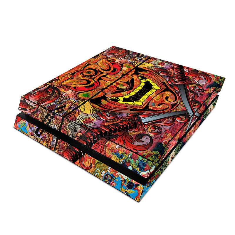 PlayStation 4 Skin design of Art, Psychedelic art, Visual arts, Illustration, Fictional character, Demon with red, orange, yellow colors