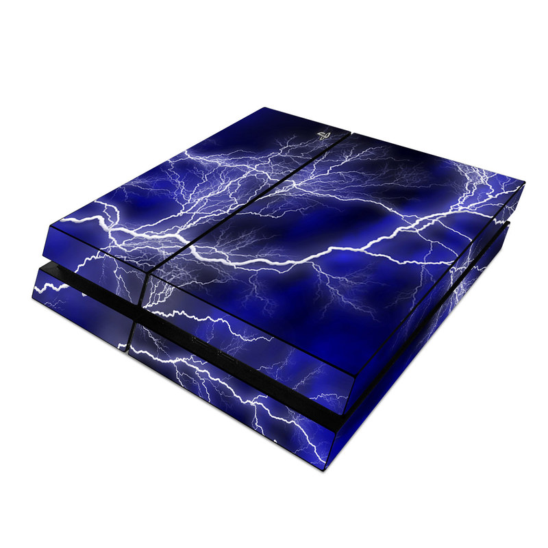 PlayStation 4 Skin design of Thunder, Lightning, Thunderstorm, Sky, Nature, Electric blue, Atmosphere, Daytime, Blue, Atmospheric phenomenon with blue, black, white colors