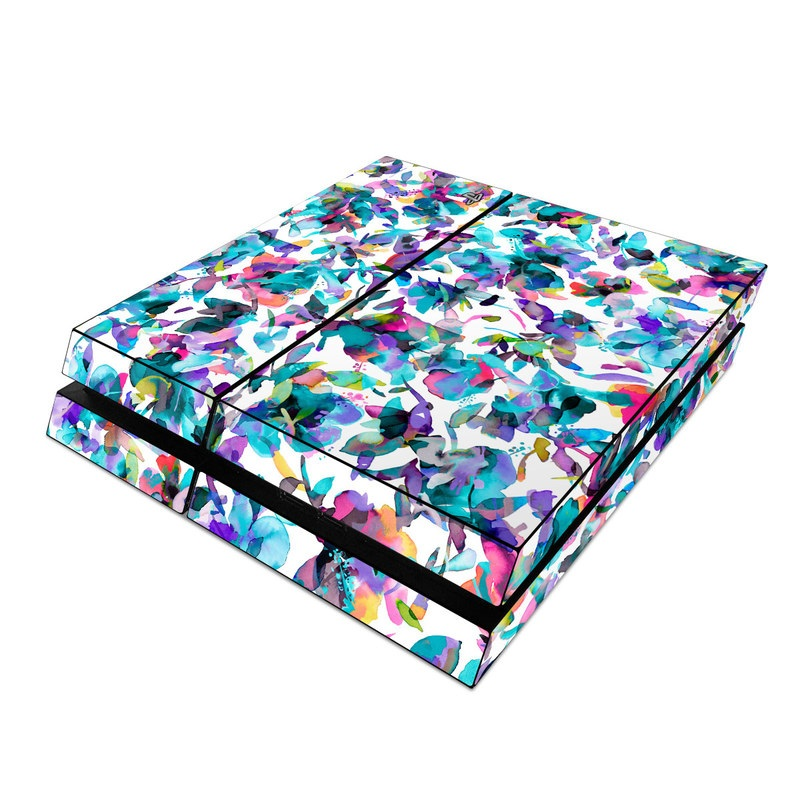 PlayStation 4 Skin design of Pattern, Design, Textile with white, blue, red, purple, pink, orange, yellow colors