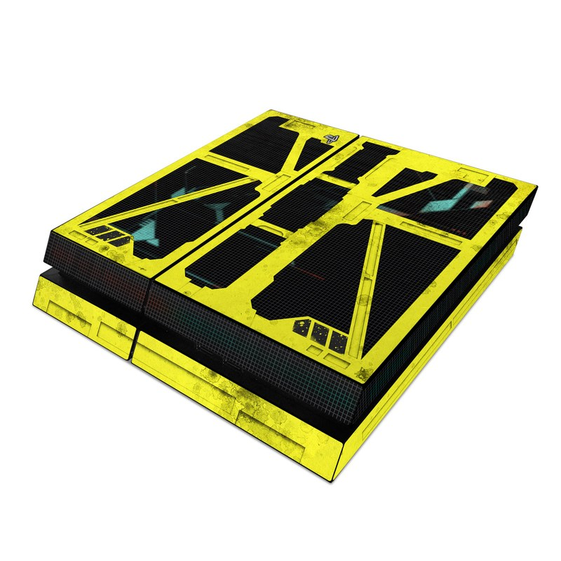 PlayStation 4 Skin design of Yellow, Green, Font, Pattern, Graphic design with black, yellow, gray, blue, green colors