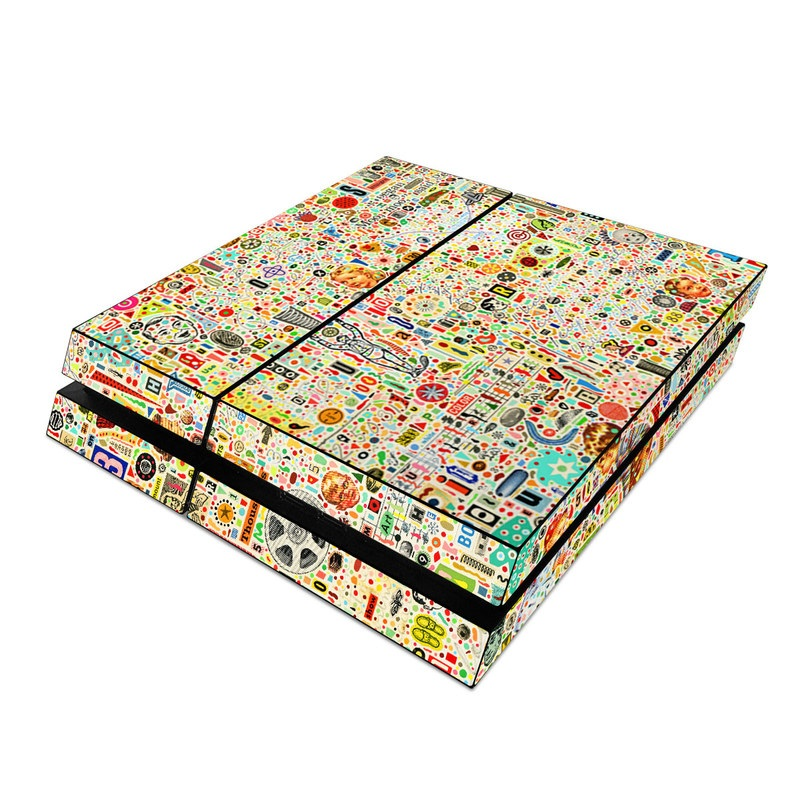 PlayStation 4 Skin design of Line, Map, Pattern with yellow, orange, green, red, blue, brown colors