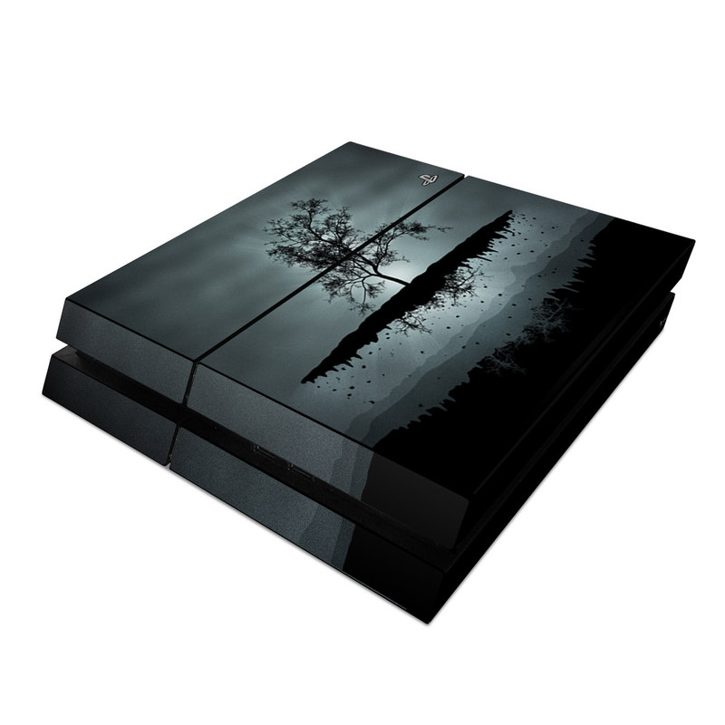 PlayStation 4 Skin design of Reflection, Sky, Nature, Water, Black, Tree, Black-and-white, Monochrome photography, Natural landscape, Atmospheric phenomenon with black, gray, blue colors