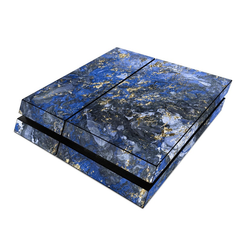 PlayStation 4 Skin design of Blue, Water, Cobalt blue, Rock, Painting, Geology, Electric blue, Mineral, Pattern, Acrylic paint with black, blue, yellow, white, gray colors