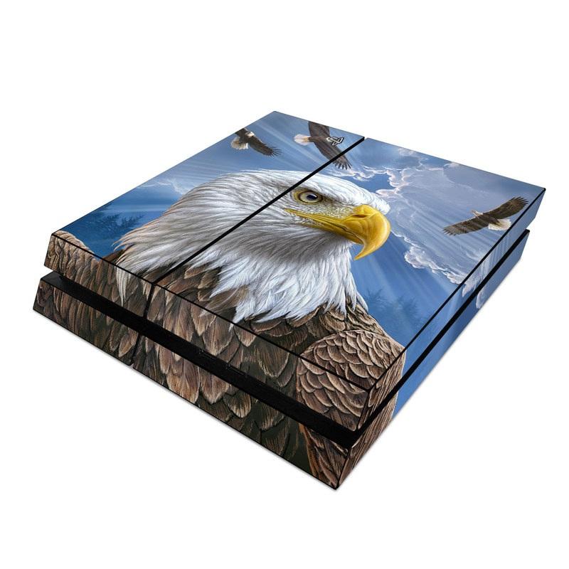 PlayStation 4 Skin design of Bird, Bald eagle, Bird of prey, Vertebrate, Accipitriformes, Accipitridae, Eagle, Nature, Beak, Kite with blue, brown, white, yellow colors