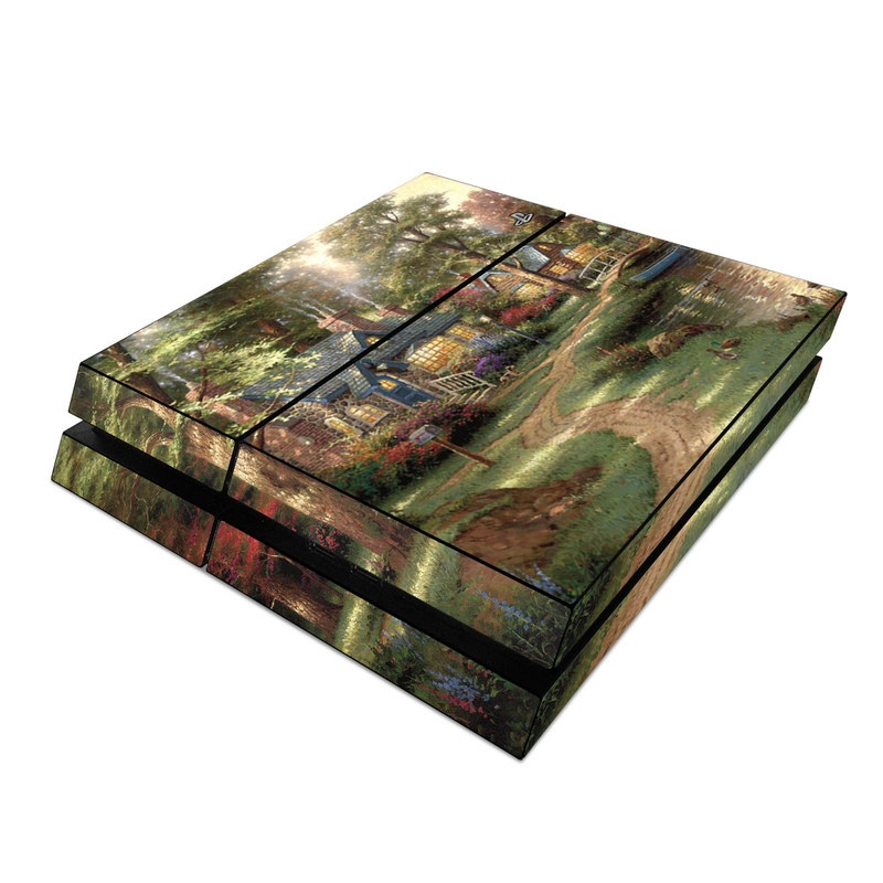 PlayStation 4 Skin design of Painting, Natural landscape, Home, House, Tree, Waterway, Bank, Landscape, Watercolor paint, Art with black, green, gray, red, yellow, pink colors