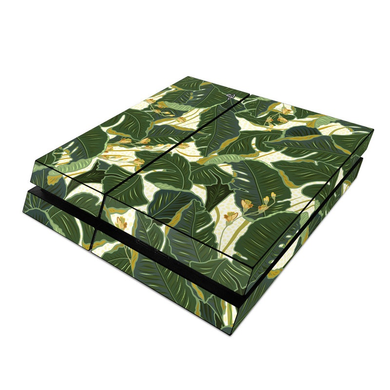 PlayStation 4 Skin design of Leaf, Plant, Flower, Pattern, Botany, Tree, Design, Flowering plant, Arrowroot family, Terrestrial plant with green, yellow colors