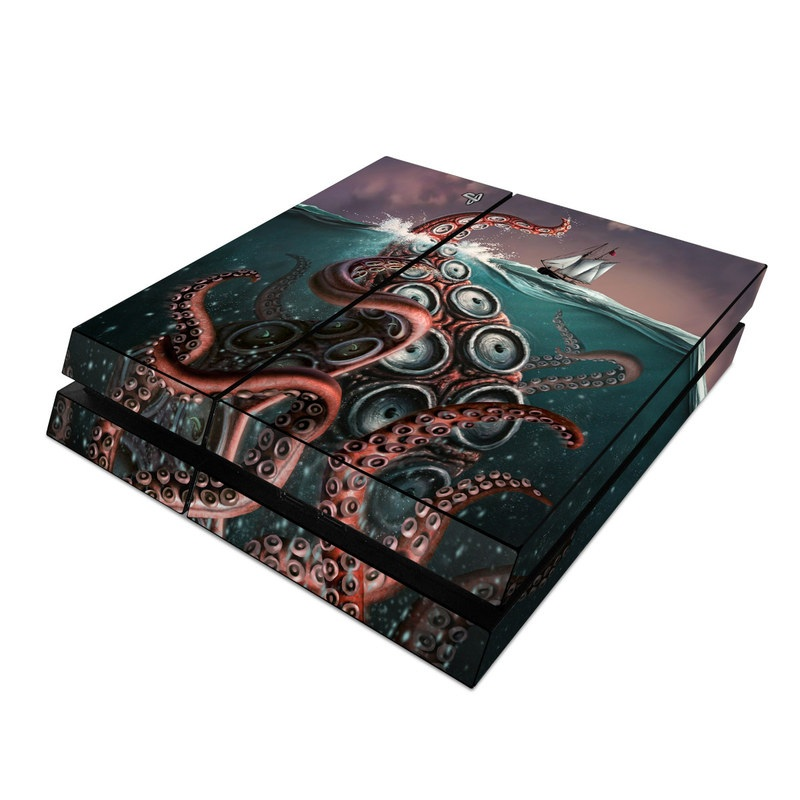 PlayStation 4 Skin design of Octopus, Water, Illustration, Wind wave, Sky, Graphic design, Organism, Cephalopod, Cg artwork, giant pacific octopus with blue, gray, white, brown, red colors
