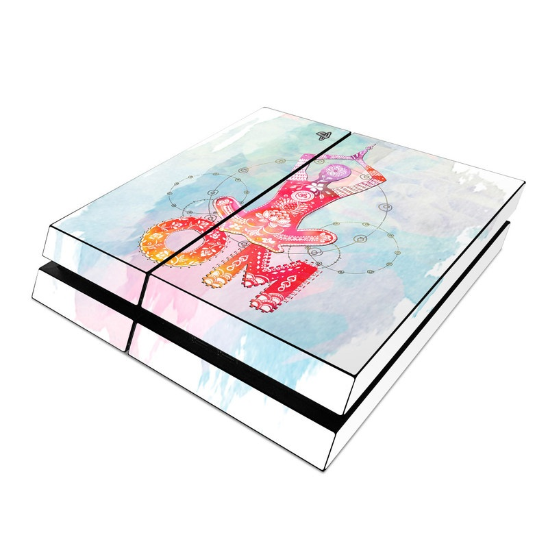 PlayStation 4 Skin design of Illustration, Art, Graphic design, Drawing, Graphics with blue, red, purple, white, orange, yellow colors