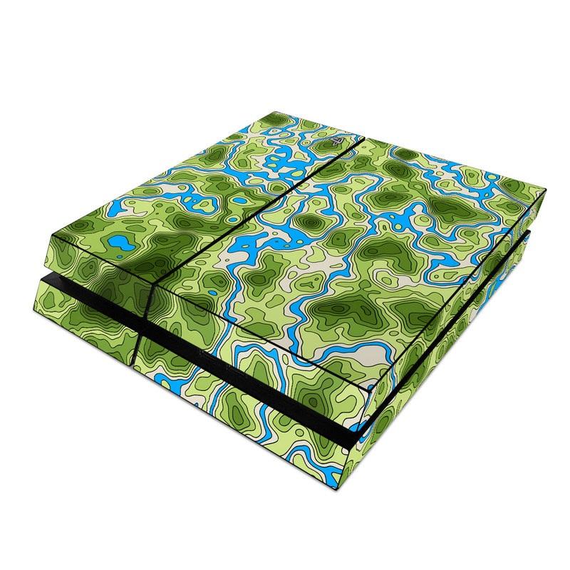 PlayStation 4 Skin design of Botany, Azure, Organism, Vegetation, Aqua, Terrestrial plant, Symmetry, Electric blue, Pattern, Art with green, blue colors