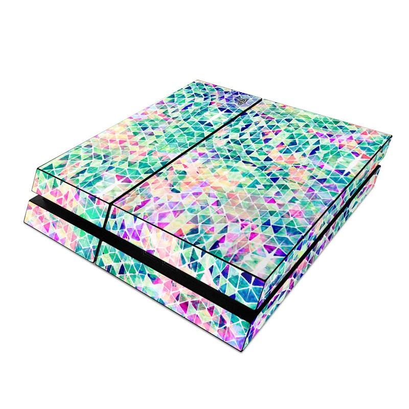 PlayStation 4 Skin design of Pattern, Aqua, Line, Teal, Purple, Turquoise, Design with white, blue, purple, orange, green colors