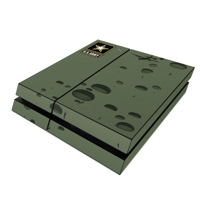 PlayStation 4 Skin design of Text, Organism, Design, Paratrooper, Pattern, Font, Illustration, Art with black colors