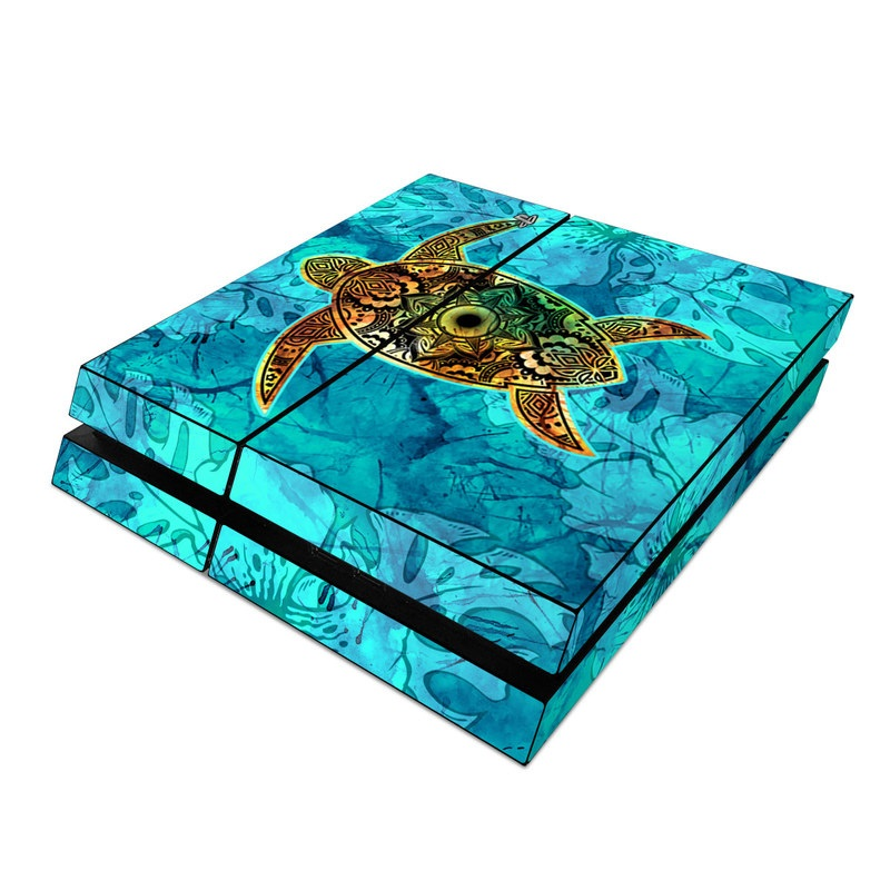 PlayStation 4 Skin design of Sea turtle, Green sea turtle, Turtle, Hawksbill sea turtle, Tortoise, Reptile, Loggerhead sea turtle, Illustration, Art, Pattern with blue, black, green, gray, red colors