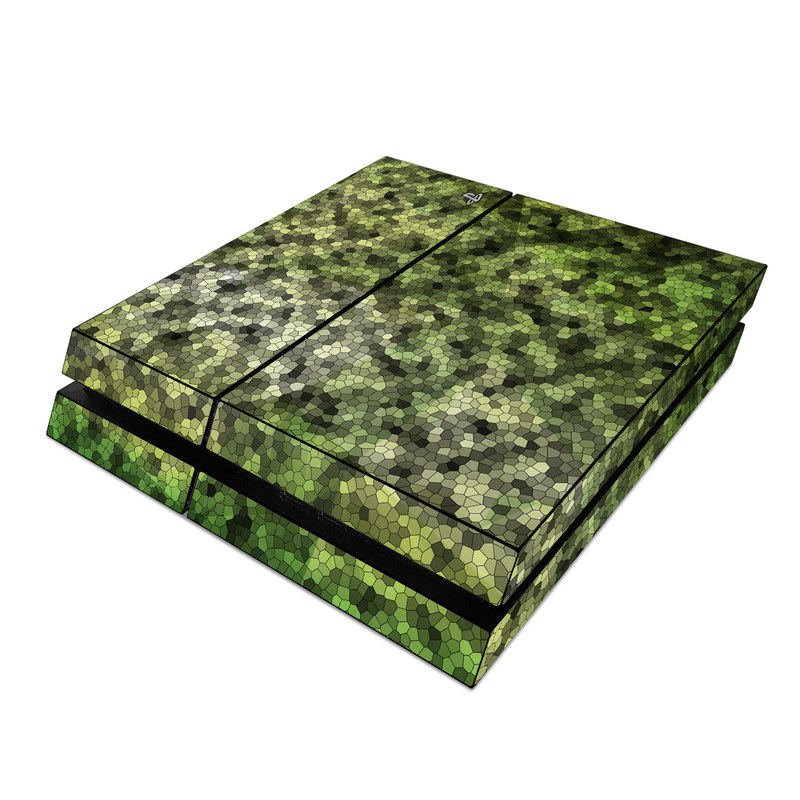 PlayStation 4 Skin design of Green, Grass, Leaf, Plant, Pattern, Groundcover with black, white, green, gray colors