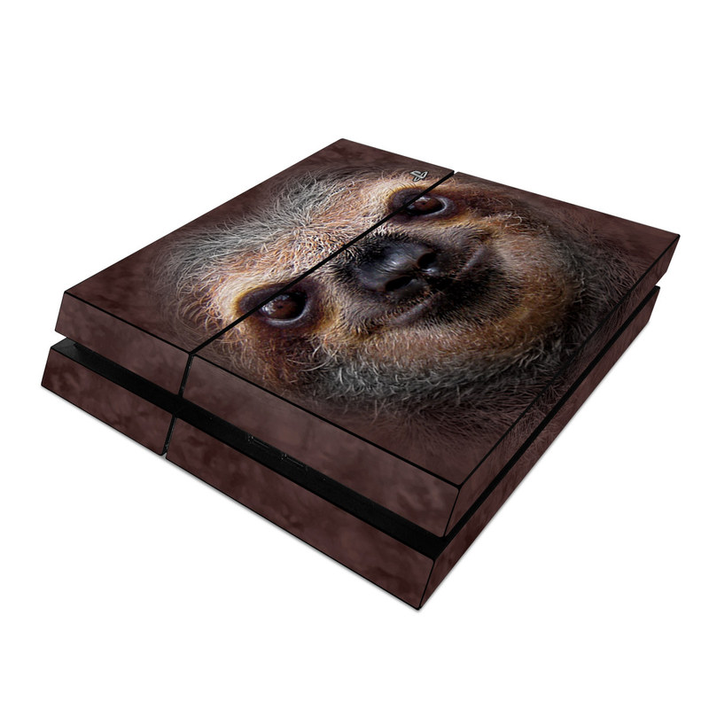 PlayStation 4 Skin design of Three-toed sloth, Sloth, Snout, Head, Close-up, Nose, Two-toed sloth, Terrestrial animal, Eye, Whiskers with black, gray, red, green colors