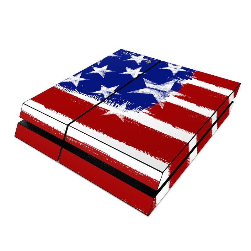 PlayStation 4 Skin design of Flag, Flag of the united states, Red, Font, Veterans day, Flag Day (USA), Independence day with red, blue, white, gray colors